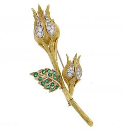David Webb David Webb Emerald and Diamond Flower Brooch - 1011869