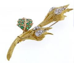 David Webb David Webb Emerald and Diamond Flower Brooch - 1011870