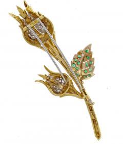 David Webb David Webb Emerald and Diamond Flower Brooch - 1011871