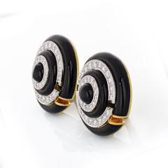 David Webb David Webb Enamel Diamond Clip On Earrings - 1671304