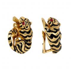 David Webb David Webb Estate Gold and Enamel Tiger Earrings with Ruby Eyes - 1292904