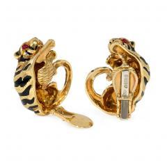 David Webb David Webb Estate Gold and Enamel Tiger Earrings with Ruby Eyes - 1292905