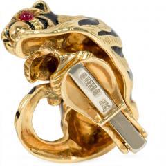 David Webb David Webb Estate Gold and Enamel Tiger Earrings with Ruby Eyes - 1292911