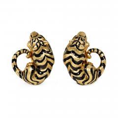 David Webb David Webb Estate Gold and Enamel Tiger Earrings with Ruby Eyes - 1292983