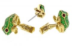 David Webb David Webb Green Enamel Gold Frog Cufflinks - 1008986