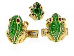David Webb David Webb Green Enamel Gold Frog Cufflinks - 1008987