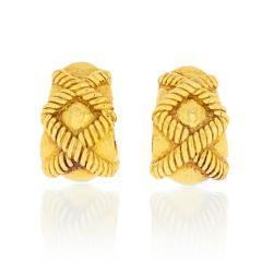 David Webb David Webb Hammered Criss Cross Rope Motif Wide Hoop Clip Earrings - 1667964