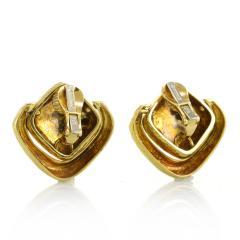 David Webb David Webb Hammered Door Knocker Clip On Earrings - 1667949