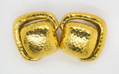 David Webb David Webb Hammered Door Knocker Clip On Earrings - 1667950