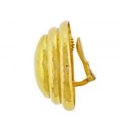 David Webb David Webb Large Gold Oval Hammered Earrings - 457979