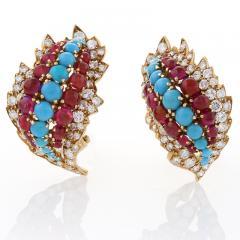 David Webb David Webb Mid 20th Century Diamond Ruby and Turquoise Earrings - 252675