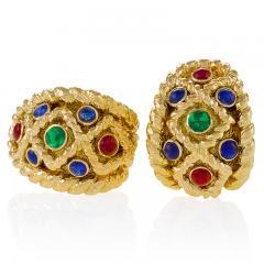 David Webb David Webb Mid 20th Century Sapphire Ruby Emerald and Gold Earrings - 240116