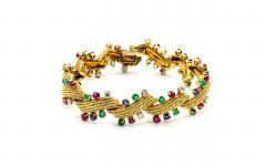 David Webb David Webb Multicolor Sapphire Emerald Diamonds Bracelet - 1674158