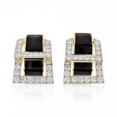 David Webb David Webb Strap Black Enamel Diamond Earrings - 1673438