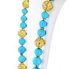 David Webb David Webb Turquoise Large Bead Strand Necklace - 1683183