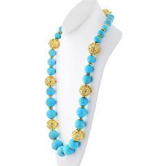 David Webb David Webb Turquoise Large Bead Strand Necklace - 1683186