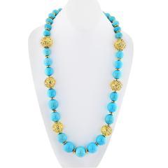 David Webb David Webb Turquoise Large Bead Strand Necklace - 1683187