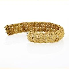 David Webb FLEXIBLE PLATINUM 18K YELLOW GOLD TEXTURED NAVETTE MULTI GOLD LINK BRACELET - 1786229
