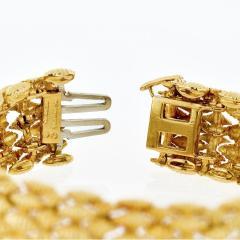 David Webb FLEXIBLE PLATINUM 18K YELLOW GOLD TEXTURED NAVETTE MULTI GOLD LINK BRACELET - 1786230