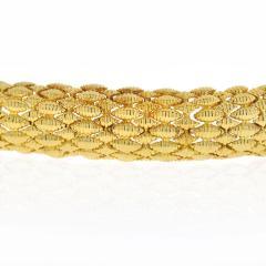 David Webb FLEXIBLE PLATINUM 18K YELLOW GOLD TEXTURED NAVETTE MULTI GOLD LINK BRACELET - 1786231