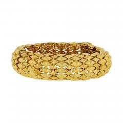 David Webb FLEXIBLE PLATINUM 18K YELLOW GOLD TEXTURED NAVETTE MULTI GOLD LINK BRACELET - 1788321