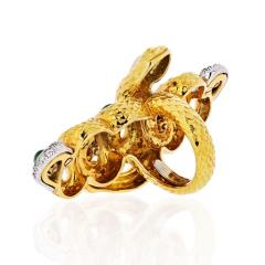 David Webb KINGDOM 18K YELLOW GOLD TWO SNAKES EMERALDS DIAMONDS INTERLOCKING RING - 1786297