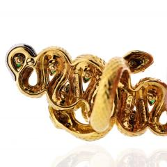 David Webb KINGDOM 18K YELLOW GOLD TWO SNAKES EMERALDS DIAMONDS INTERLOCKING RING - 1786298