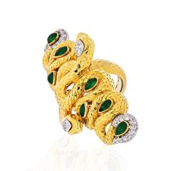 David Webb KINGDOM 18K YELLOW GOLD TWO SNAKES EMERALDS DIAMONDS INTERLOCKING RING - 1786300