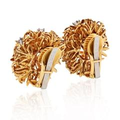 David Webb PLATINUM 18K YELLOW GOLD 1 25 CARAT DIAMOND FLOWER BURST CLIP EARRINGS - 1786228