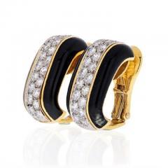 David Webb PLATINUM 18K YELLOW GOLD 2 00 CARAT DIAMOND HUGGIE BLACK ENAMEL EARRINGS - 1858648