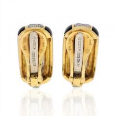David Webb PLATINUM 18K YELLOW GOLD 2 00 CARAT DIAMOND HUGGIE BLACK ENAMEL EARRINGS - 1858649