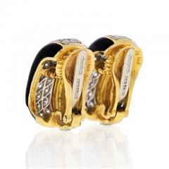 David Webb PLATINUM 18K YELLOW GOLD 2 00 CARAT DIAMOND HUGGIE BLACK ENAMEL EARRINGS - 1858650