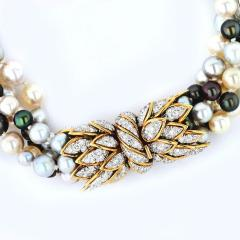 David Webb PLATINUM 18K YELLOW GOLD 5 MULTI COLORED PEARL STRING TORSADE DIAMOND NECKLACE - 1786157