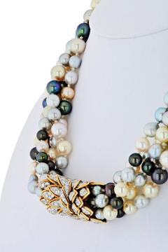 David Webb PLATINUM 18K YELLOW GOLD 5 MULTI COLORED PEARL STRING TORSADE DIAMOND NECKLACE - 1786159