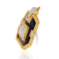 David Webb PLATINUM 18K YELLOW GOLD 8 CARAT DIAMOND AND BLACK ENAMEL PENDANT BROOCH - 1858656