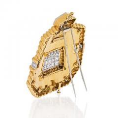 David Webb PLATINUM 18K YELLOW GOLD 8 CARAT DIAMOND AND BLACK ENAMEL PENDANT BROOCH - 1858657
