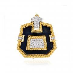 David Webb PLATINUM 18K YELLOW GOLD 8 CARAT DIAMOND AND BLACK ENAMEL PENDANT BROOCH - 1858832