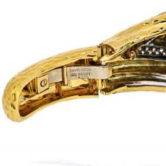 David Webb PLATINUM 18K YELLOW GOLD AQUAMARINE DIAMONDS HINGED CUFF BANGLE BRACELET - 1786199