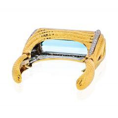 David Webb PLATINUM 18K YELLOW GOLD AQUAMARINE DIAMONDS HINGED CUFF BANGLE BRACELET - 1786200