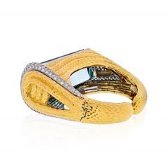 David Webb PLATINUM 18K YELLOW GOLD AQUAMARINE DIAMONDS HINGED CUFF BANGLE BRACELET - 1786201
