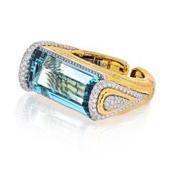 David Webb PLATINUM 18K YELLOW GOLD AQUAMARINE DIAMONDS HINGED CUFF BANGLE BRACELET - 1786202