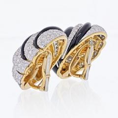 David Webb PLATINUM 18K YELLOW GOLD BLACK ENAMEL AND DIAMOND ROUND CLIP EARRINGS - 1963044