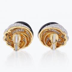 David Webb PLATINUM 18K YELLOW GOLD BLACK ENAMEL AND DIAMOND ROUND CLIP EARRINGS - 1963045