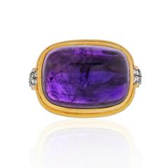 David Webb PLATINUM 18K YELLOW GOLD CABOCHON AMETHYST AND DIAMOND COCKTAIL RING - 1796922