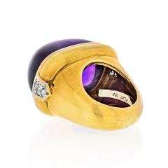 David Webb PLATINUM 18K YELLOW GOLD CABOCHON AMETHYST AND DIAMOND COCKTAIL RING - 1796923