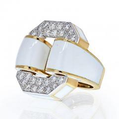 David Webb PLATINUM 18K YELLOW GOLD SIGNATURE TIRE IN WHITE ENAMEL DIAMOND RING - 1977165