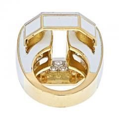 David Webb PLATINUM 18K YELLOW GOLD SIGNATURE TIRE IN WHITE ENAMEL DIAMOND RING - 1977167