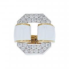 David Webb PLATINUM 18K YELLOW GOLD SIGNATURE TIRE IN WHITE ENAMEL DIAMOND RING - 1981999