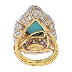 David Webb VINTAGE DAVID WEBB TURQUOISE AND DIAMOND RING - 2029546