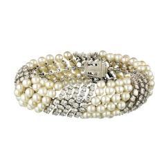 David Webb White Pearl Diamond Bracelet - 1675029